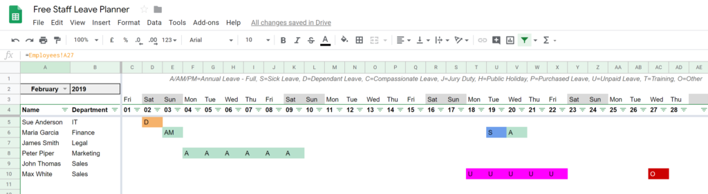 Plan and track your staff leave using Google Sheets