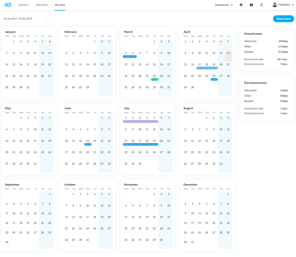 Personal employee leave calendar