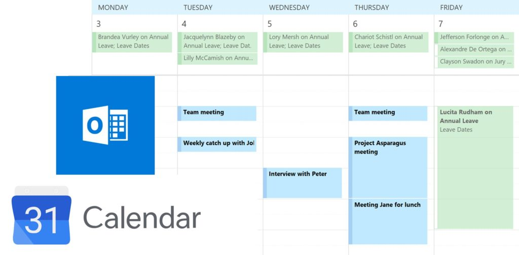 Sync with Google Calendar or Outlook Calendar or integrate with Zapier