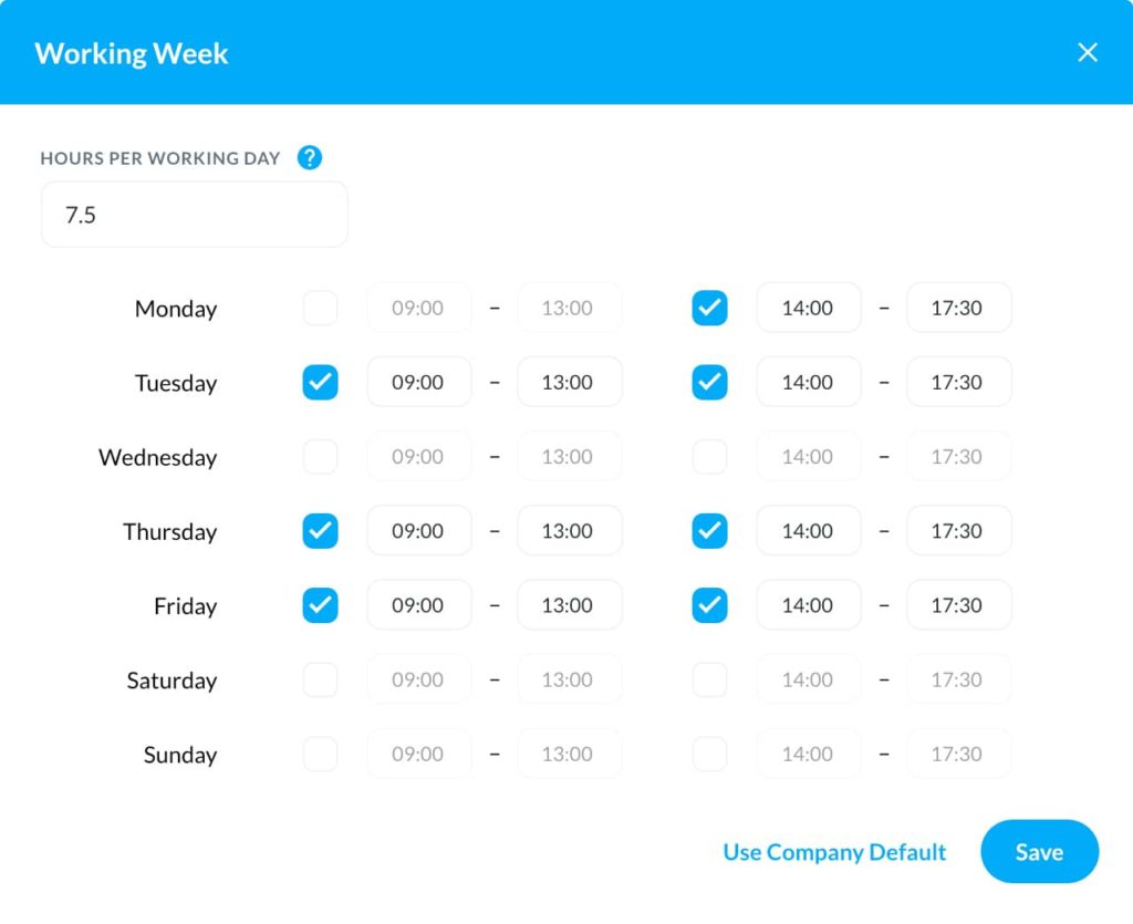 The staff holiday booking system is flexible for your company leave policy, part time workers, flexible workers